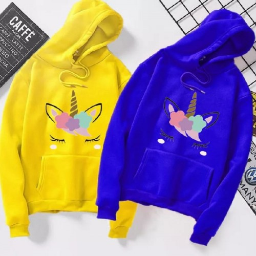 Bundle Unicorn Yellow & Blue Pullover hoodie For Ladies