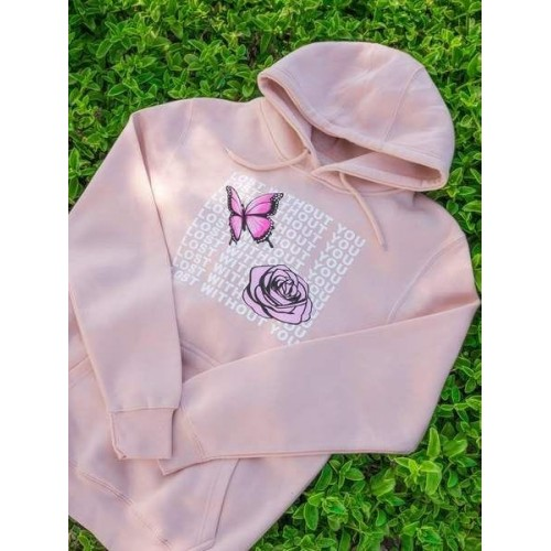 Without You LightPink Hoodie For Girls
