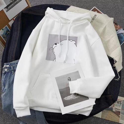 Teddy Logo White Pullover Hoodie For Girls