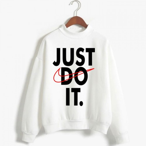 Just do it White Fleece Sweatshirt