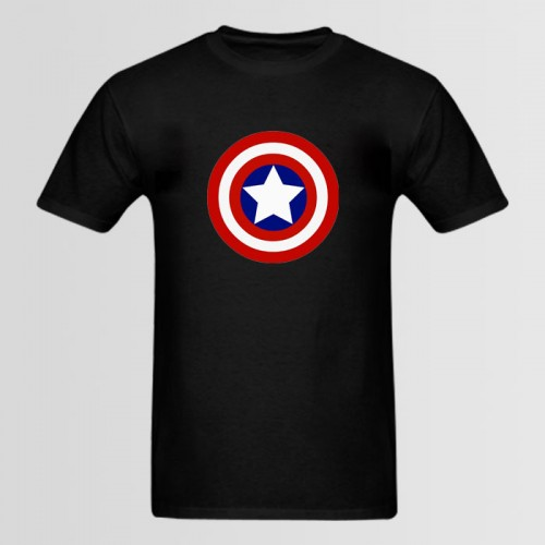 Capt America Half Sleeves Black T-Shirt For Men