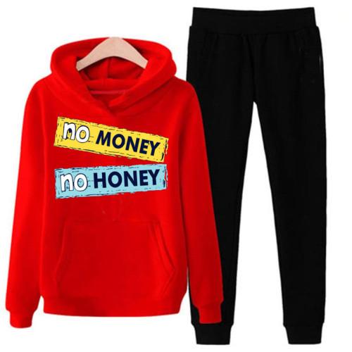 No Money No Honey Red Winter Tracksuit For Mens