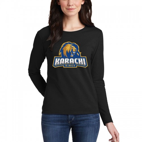 Karachi Kings Black Full Sleeves T-Shirt For Ladies