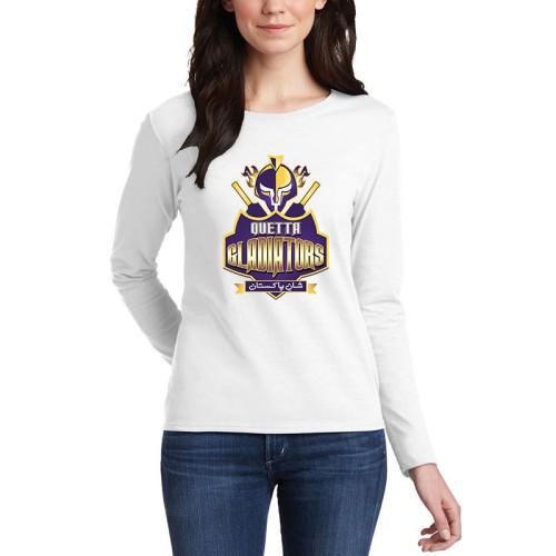 Gladiators White Full Sleeves T-Shirt For Women