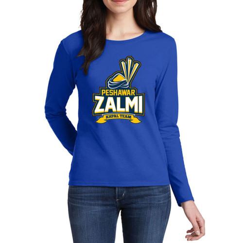 Zalmi Blue Full Sleeves T-Shirt For Ladies