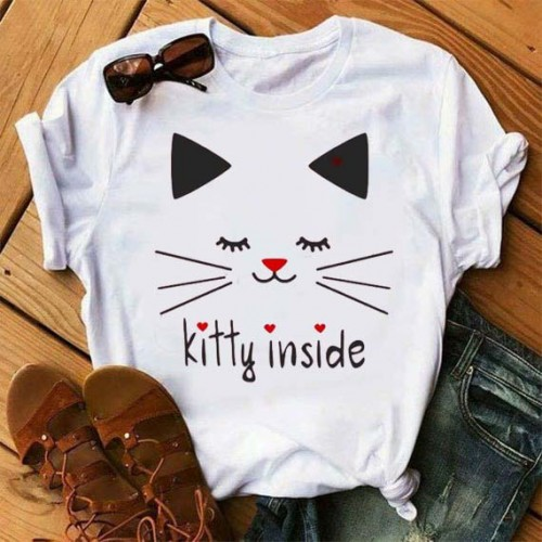 Kitty logo Printed T-Shirt in White