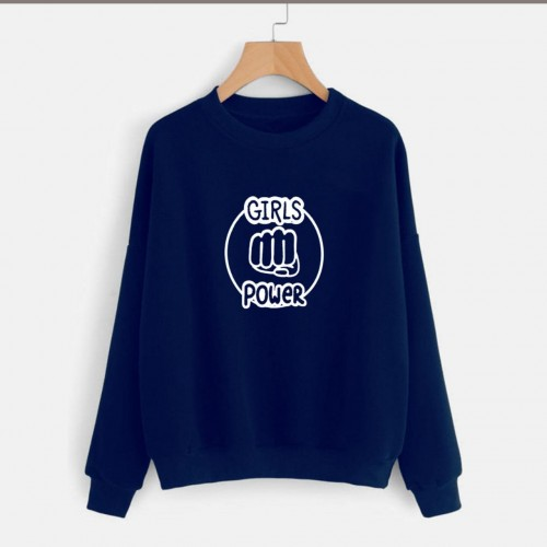 Girls Power Navy Blue Printed Sweatshirt