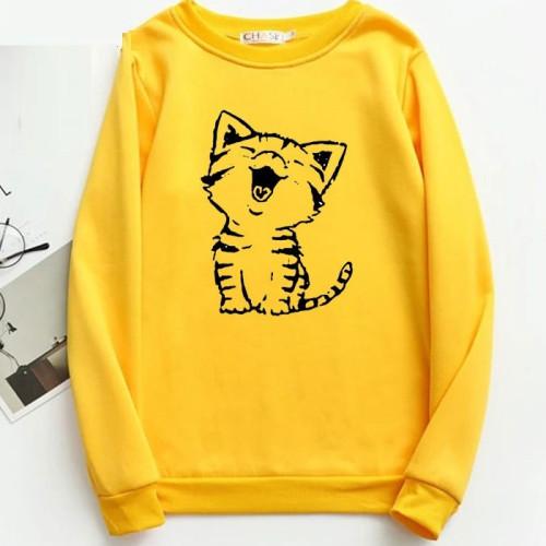 Kitten Yellow Fleece Sweatshirt