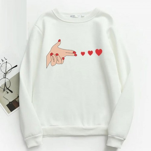 Printed Design Pullover Sweatshirt For Ladies