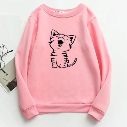 Meow Pink Fleece Sweatshirt For Girls