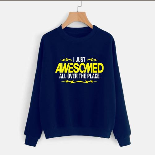 I Just Awesome Navy Blue Fleece Sweatshirt