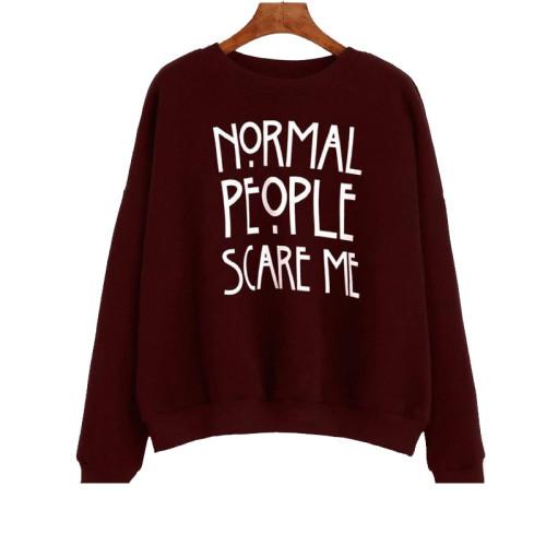 Normal People Maroon Fleece Sweatshirt For Ladies