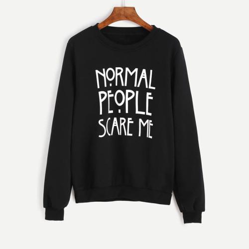 Normal People Black Fleece Sweatshirt For Women's