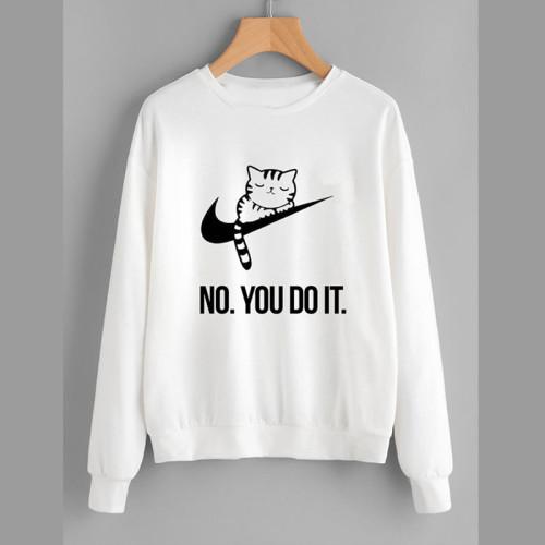 Do it White Pullover Sweatshirt For Girls