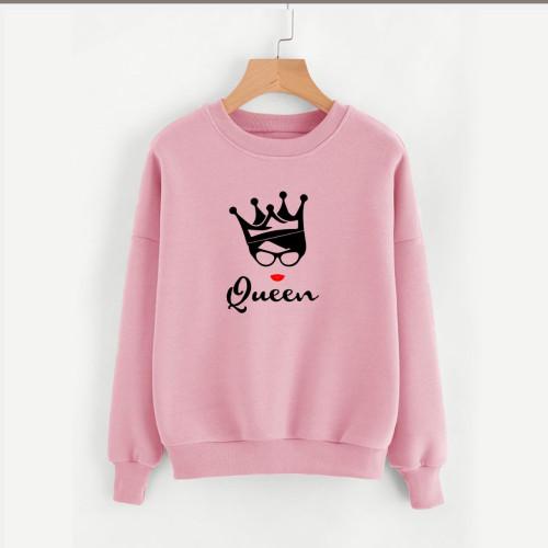 Queen Pink Fleece Sweatshirt For Ladies