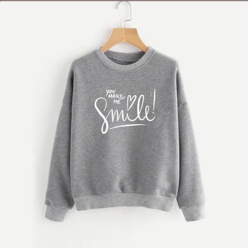 You make me Smile Grey Fleece Sweatshirt