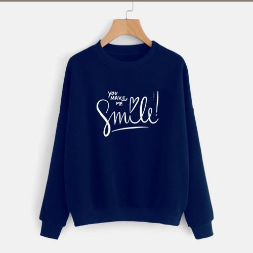 You make me Smile Navy Blue Sweatshirt