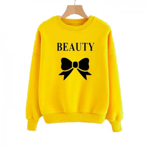 Beauty Yellow Pullover Sweatshirt For Ladies