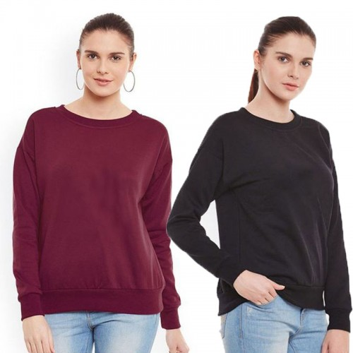 Bundle of 2 Maroon & Black Plain Sweatshirts