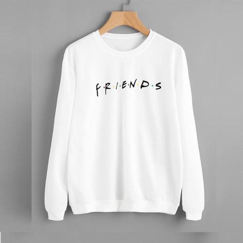 Friends White Pullover Sweatshirt For Girls