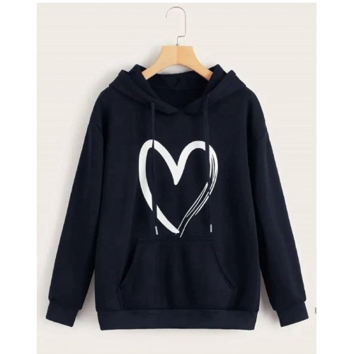Heart Logo Navy Blue Hoodie For Ladies