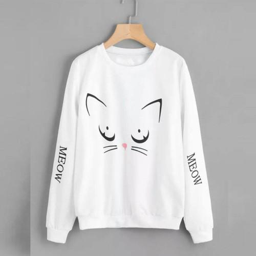 Meow White Fleece Sweatshirt For Ladies
