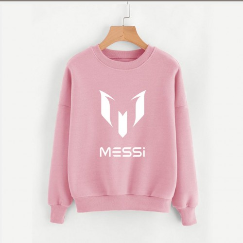 Messi Pink Pullover Sweatshirt For Girls