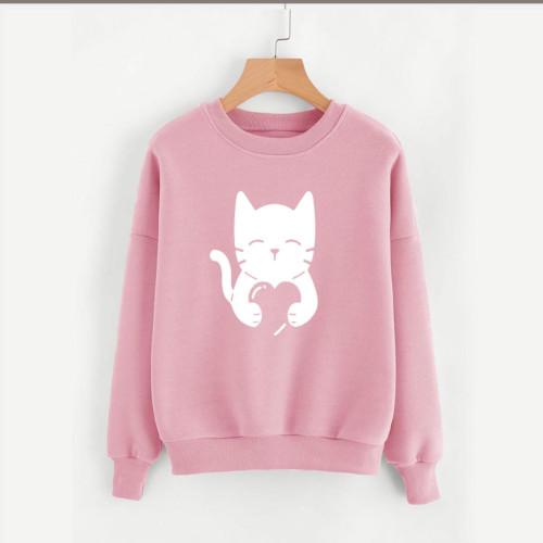 Cat Heart Pink Fleece Sweatshirt