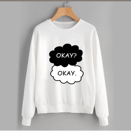 Okay Okay White Fleece Sweatshirt (Unisex)