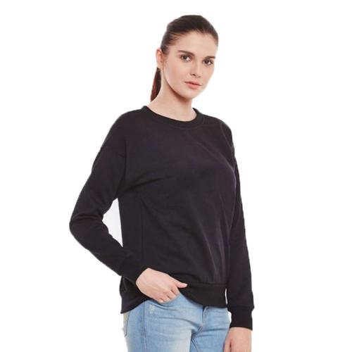 Plain Black Fleece Sweatshirt For Ladies