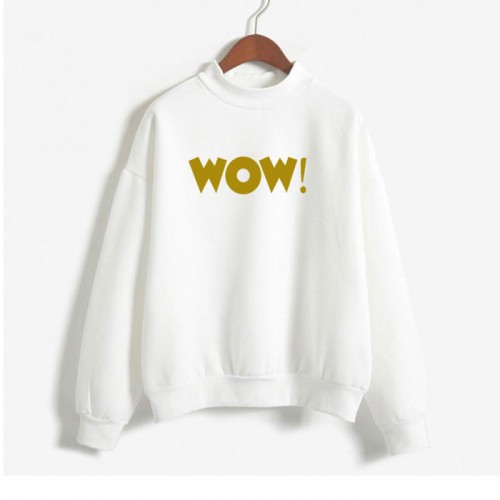 Wow Logo White Premium Quality Sweatshirt for Women
