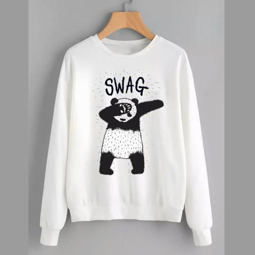 Swag Panda Best Quality White Sweatshirt