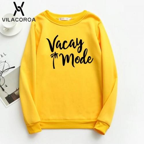 Vacay Mode Yellow Fleece Sweatshirt