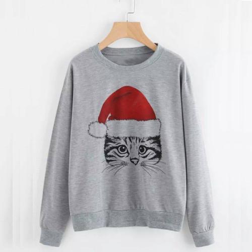 Santa Cat Grey Best Quality Sweatshirt For Ladies
