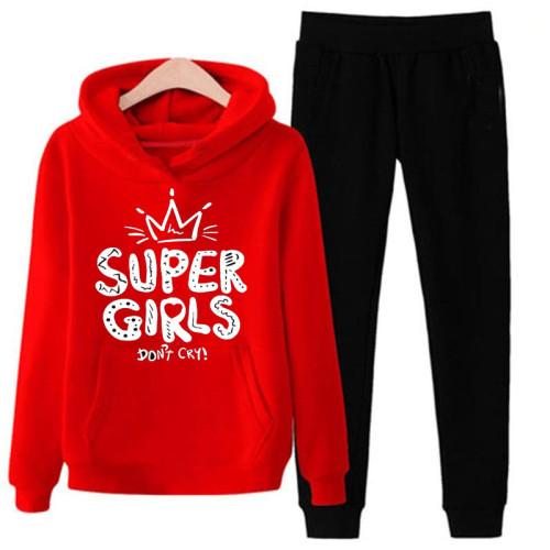 Super Girls Red & Black Winter Tracksuit