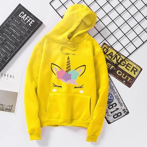 Unicorn Yellow Pullover Hoodie For Women