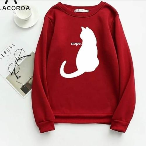 NopeCat Red Fleece Sweatshirt