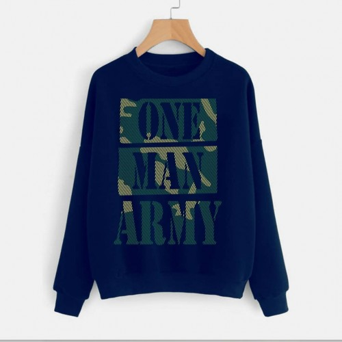 One Man Army Navy Blue Fleece Sweatshirt