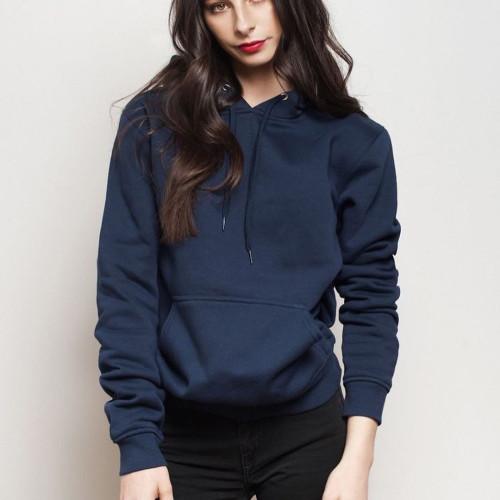 Navy Blue Plain Hoodie For Women's