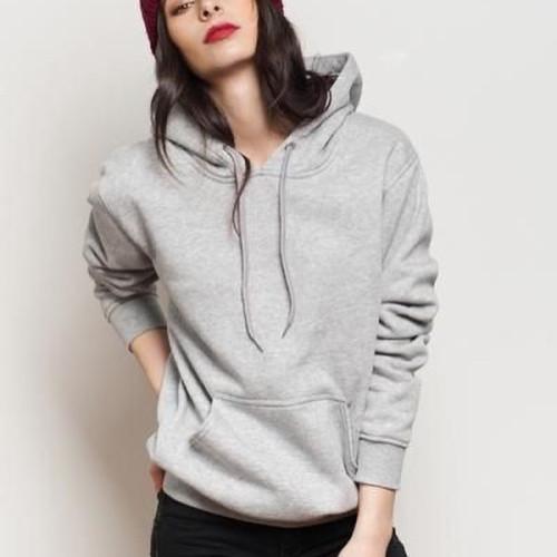 Plain Grey Hoodie For Ladies