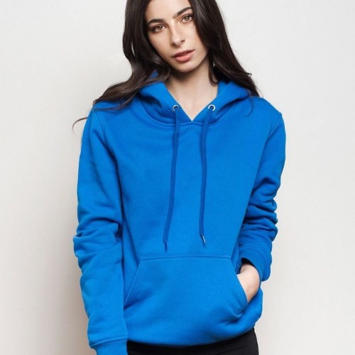 Plain Blue Pullover Hoodie For Women
