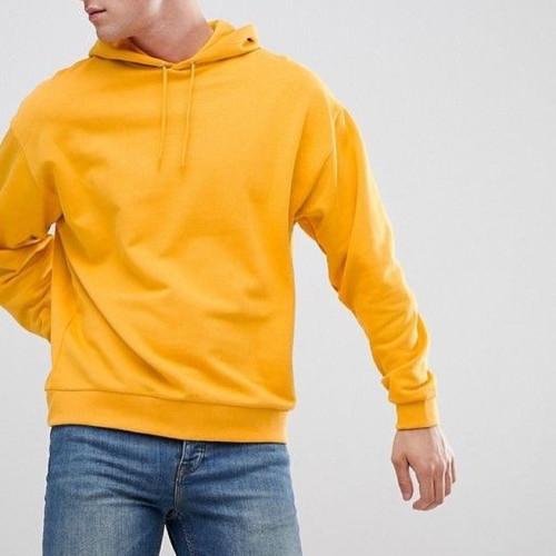 Plain Mango Yellow Pullover Hoodie For Men