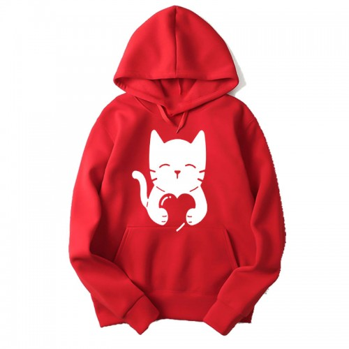 Love Cat Red Hoodie For Women