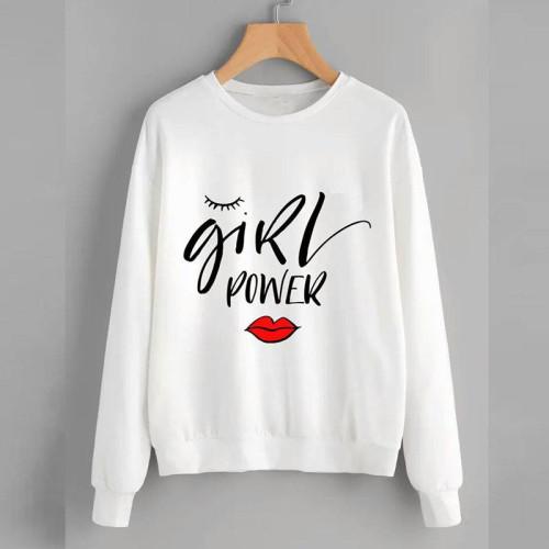 Girls Power Premium Quality White Sweatshirt