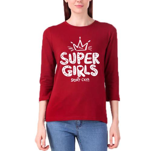 Super Girls Maroon Full Sleeves T-Shirt