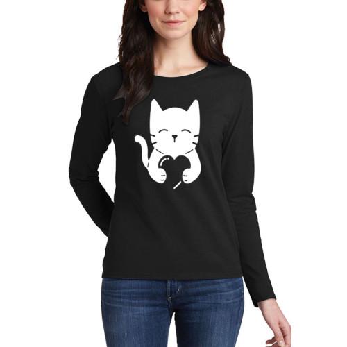 LoveCat Black Full Sleeves Printed T-Shirt
