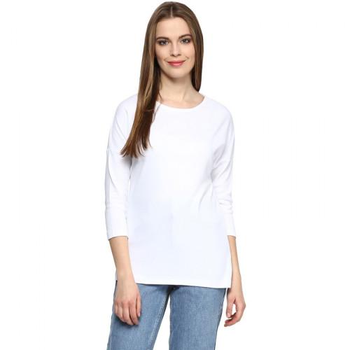 Plain White Full Sleeves Printed T-Shirt For Ladies