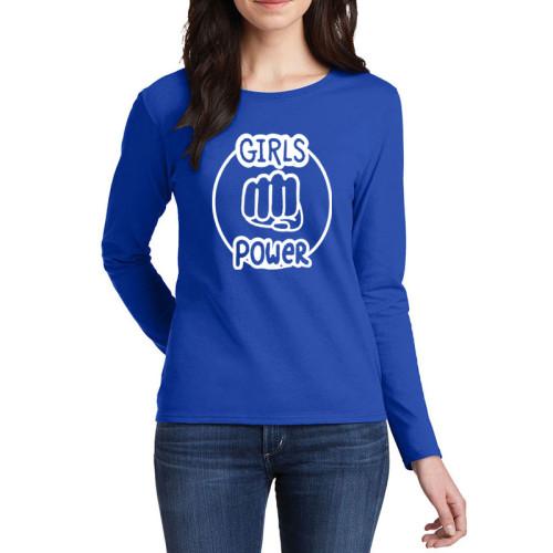 Girls Power Blue Full Sleeves Printed T-Shirt
