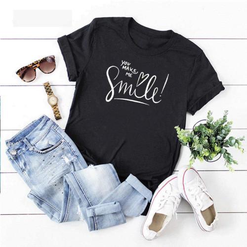 You Make me Smile Black Printed T-Shirt For Women