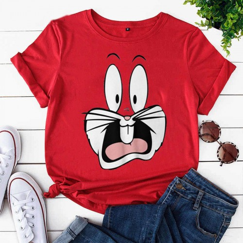 Bugs Bunny Red Half Sleeves Printed T-Shirt